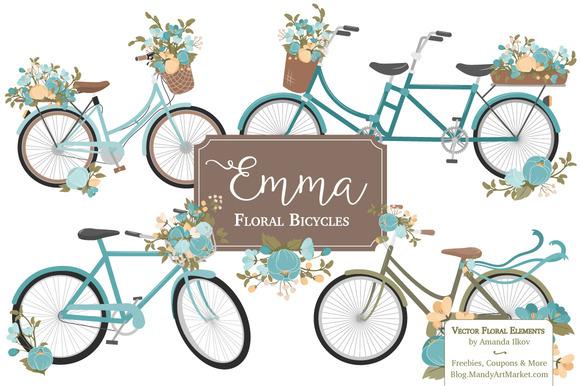 Vintage Blue Floral Bicycles