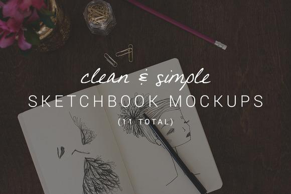 11 Clean Simple Sketchbook Mockups