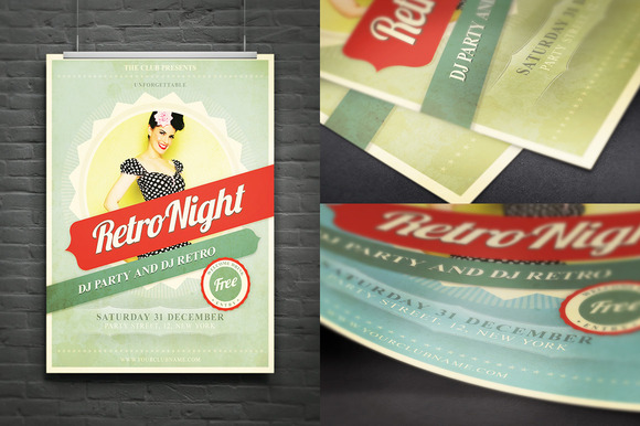 Retro Night Flyer Poster Ad