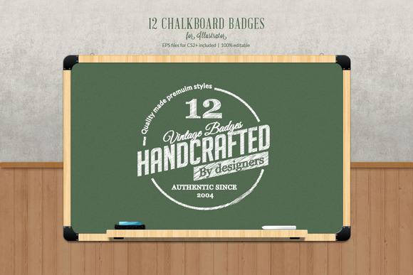 12 Chalk Badges For Illustrator