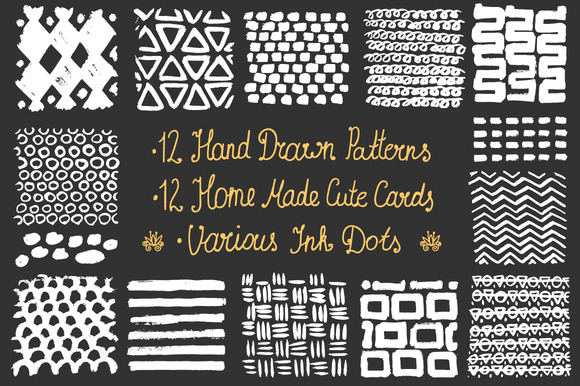 Hand Drawn Patterns Cards Ink Dots