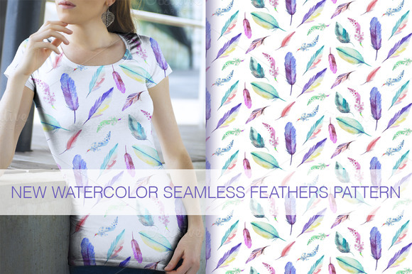 5 Watercolor Feathers Pattern