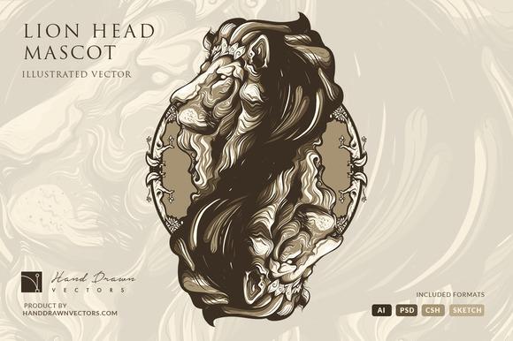 Lion Head Illustration Mascot Logo