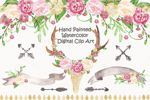 Antler Floral Watercolor Cliparts