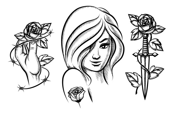 Tattoos Beauty Girl Knife Rose