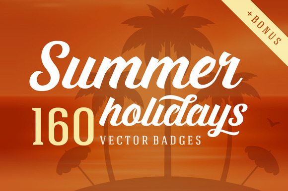 160 Summer Holidays Badges Logos