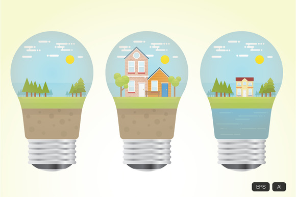 Nature Inside Lightbulb Vector