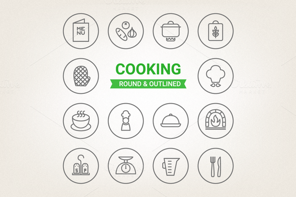 Circle Cooking Icons