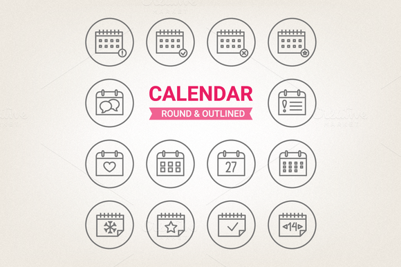 Circle Calendar Icons