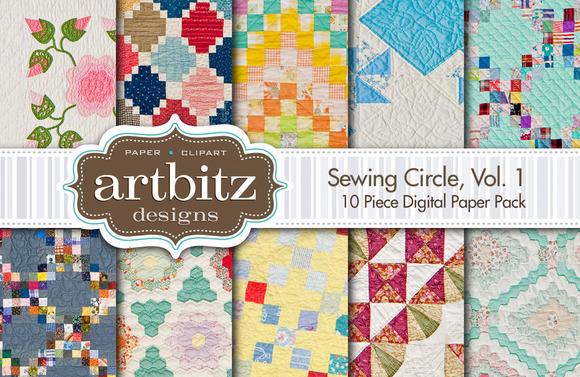 Sewing Circle V1 Quilt Digital Paper
