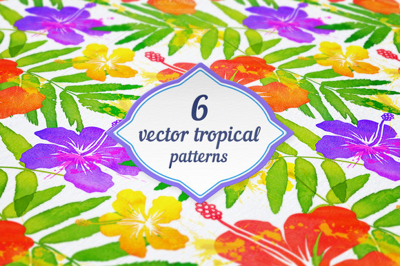 6 Vector Tropical Seamless Patterns