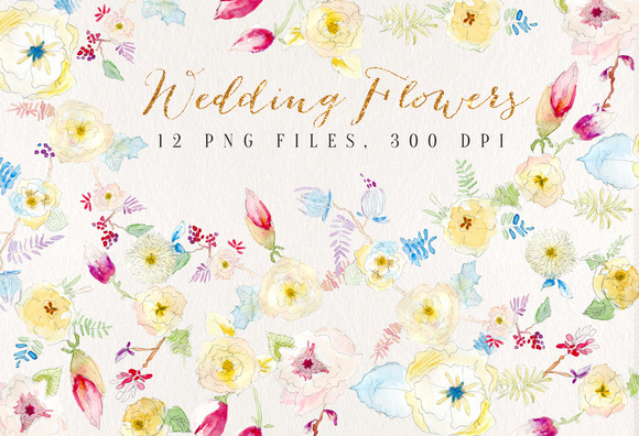 Watercolour Wedding Flowers