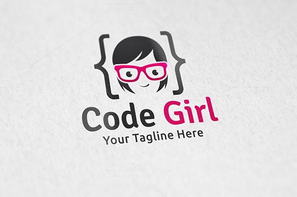 Code Girl Logo Template