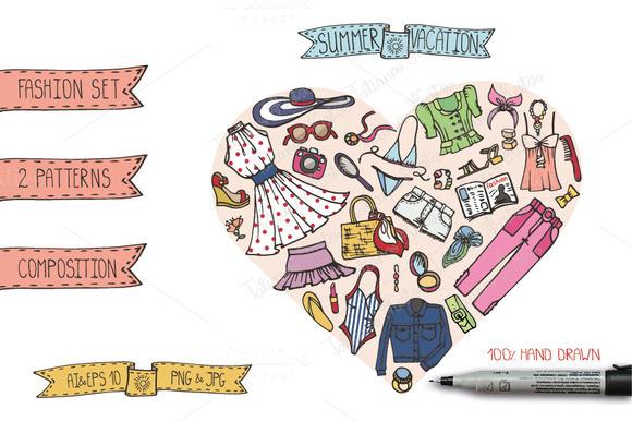 Summer Fashion Doodle Vector Set