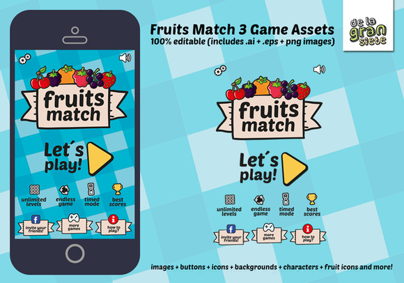 Fruits Match 3 Game Assets