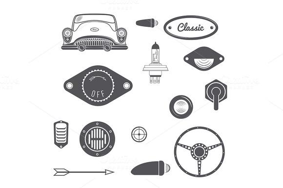 Set Of Retro Car Design Vintage