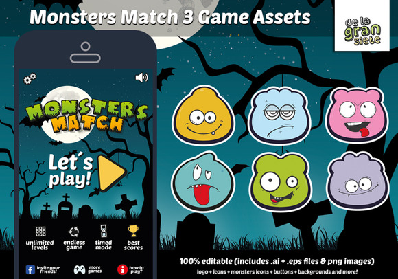 Monsters Match 3 Game Assets