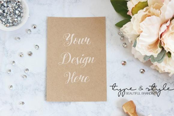 Styled Stock Photo Kraft Paper Card