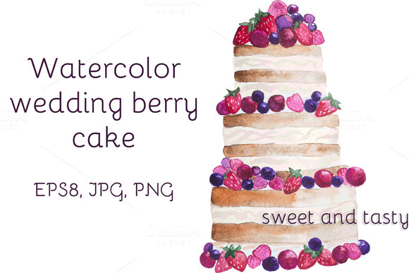 Watercolor Wedding Berry Cake