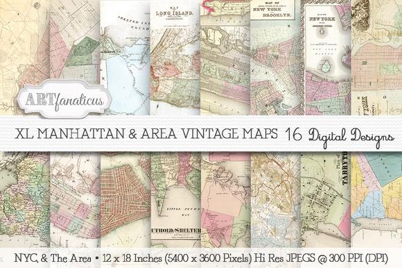XL MANHATTAN AREA VINTAGE MAPS