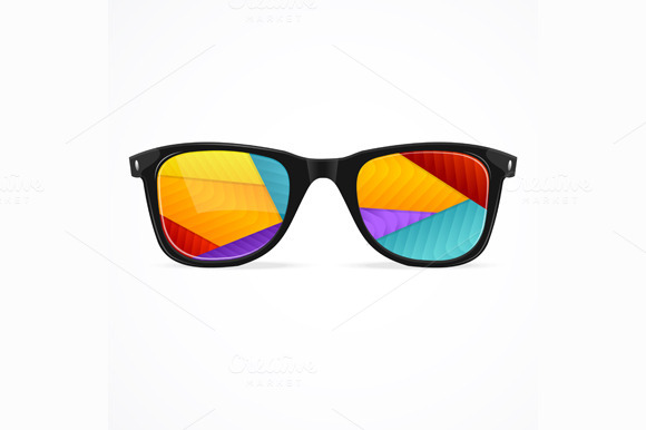 Vector Sunglasses Rainbow Abstract