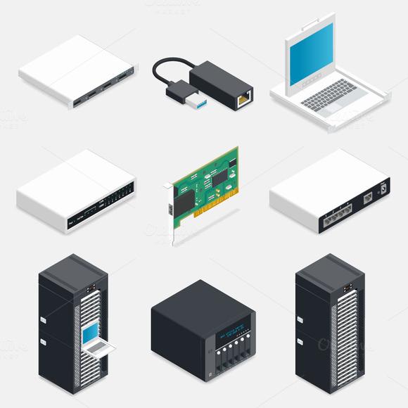 Networking Isometric Icons Set
