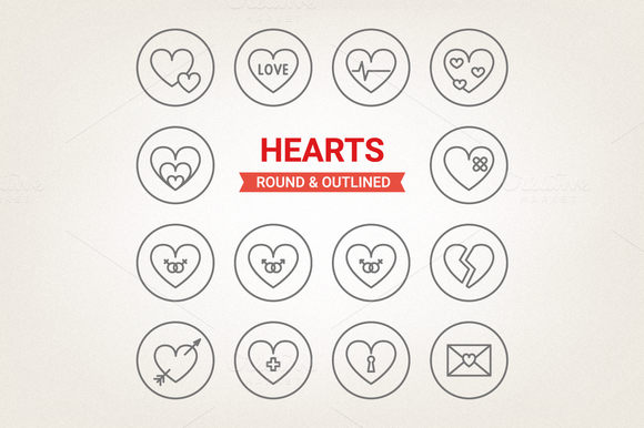 Circle Hearts Icons