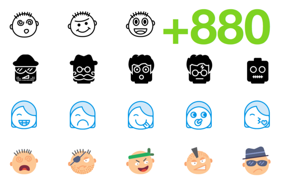SMASHICONS 880 Emoticons Icons