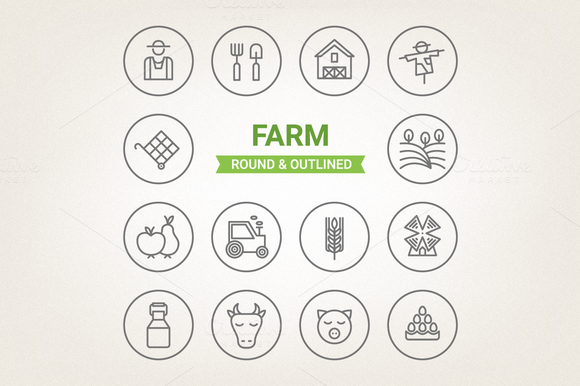 Circle Farm Icons