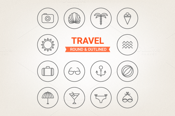 Circle Travel Icons