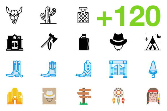 SMASHICONS 120 Wild West Icons