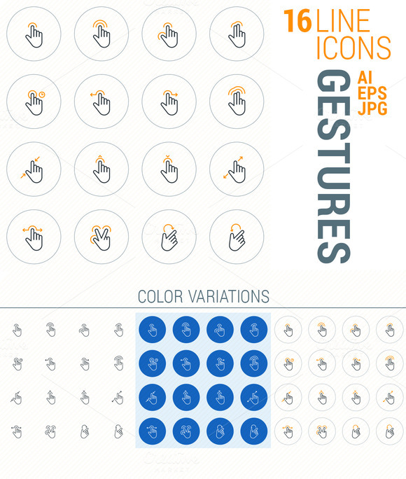 16 Line Icons Gestures