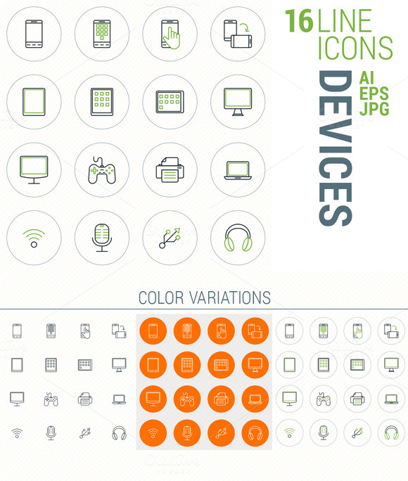 16 Line Icons Devices
