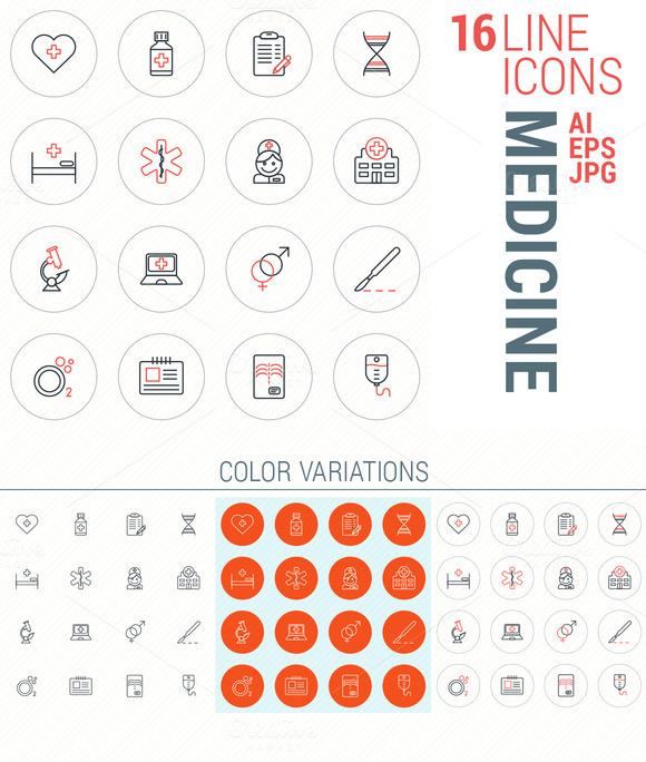 16 Line Icons Medicine