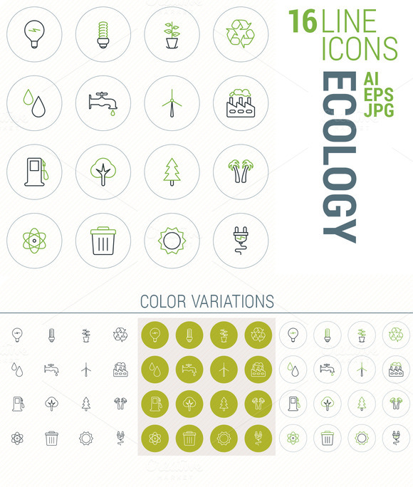 16 Line Icons Ecology