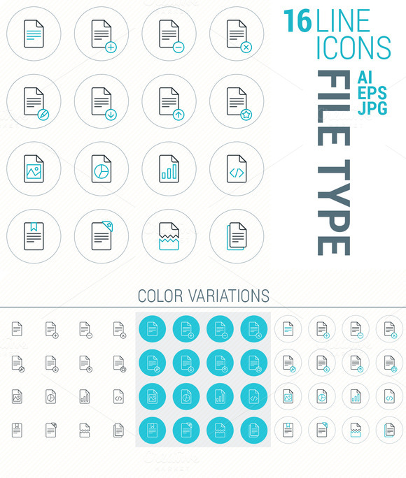 16 Line Icons File Type