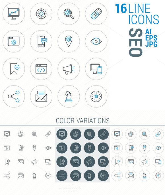 16 Line Icons SEO