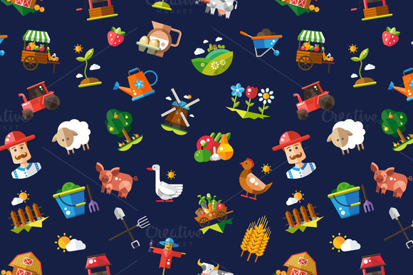 Farm Agriculture Icons Pattern
