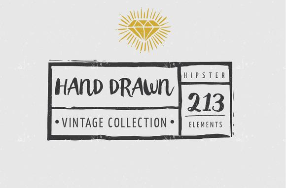 Vintage Hipster Hand Inked Elements