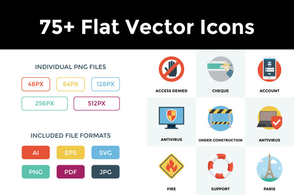 75 Flat Vector Icons