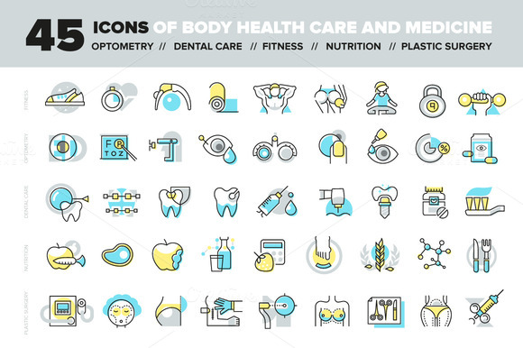 Body Health Care And Medicine Icons