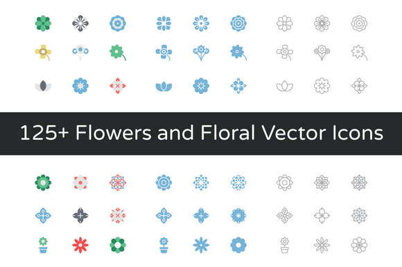 125 Flowers And Floral Vector Icons