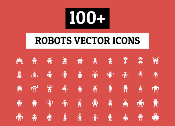 100 Robots Vector Icons