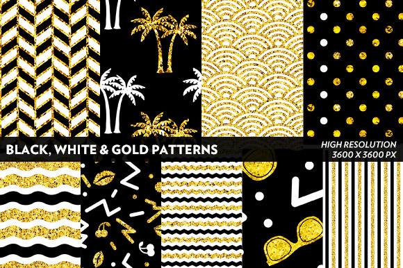 Black White Gold Patterns