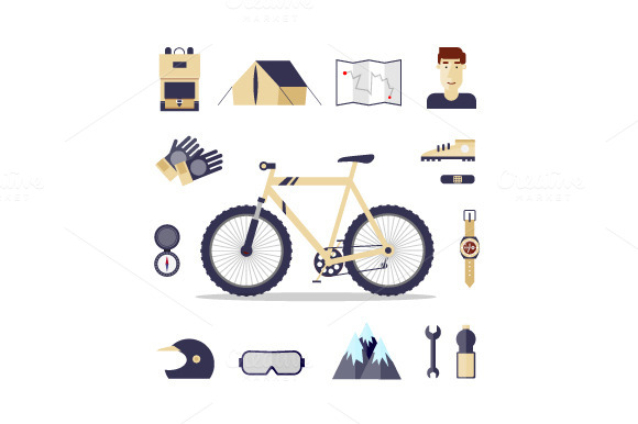 Mountain Bike Flat Design