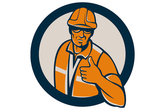Construction Worker Thumbs Up Circle