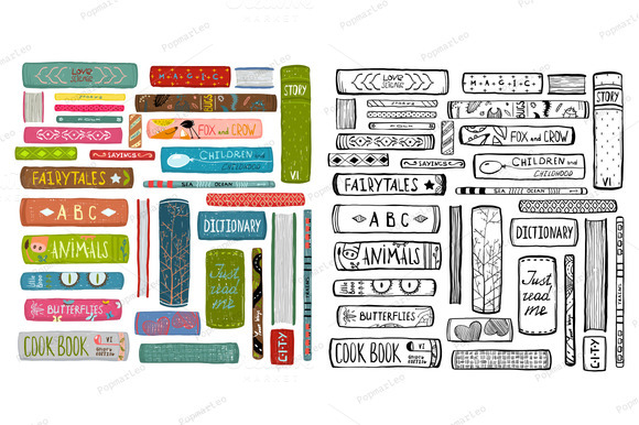 Colorful Books Drawing Library Set