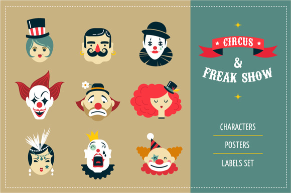 Freak Show Circus Icons Posters
