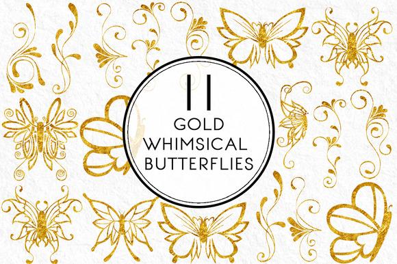 Gold Whimsical Butterflies