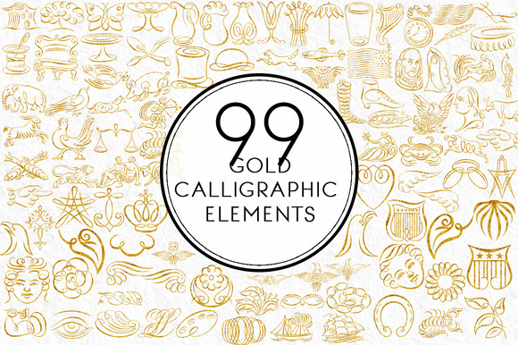Gold Calligraphic Elements